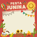 Festa Junina - Brazil June Festival. Retro Poster of Folklore Holiday. Cage Background. Vector Illustration Stock Photos