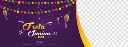 Festa Junina Brazilian festival cover banner template design. Vector background illustration Stock Images