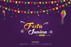 Festa Junina Brazilian festival cover banner template design. Vector background illustration Stock Photography