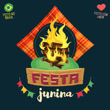 Festa Junina Brazilian June Party - Bonfire logo Royalty Free Stock Images