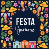 Festa junina, Brazilian june party. Greeting card, invitation. Latin American holiday. Vector illustration background. Festa junina, Brazilian june party Royalty Free Stock Photography