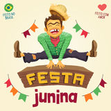 Festa Junina Brazilian June Party - Happy peasant jumping over. Made in Brazil - Made with love - Detailed vector cartoon for june party themes Stock Photo