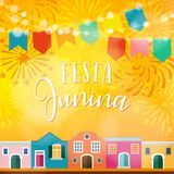 Festa junina, Brazilian june party. Latin American holiday. Vector illustration background with garland of flags. Festa junina, Brazilian june party, Latin Stock Images