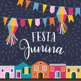 Festa junina, Brazilian june party. Latin American holiday. Vector illustration background with garland of flags. Lanterns, colorful houses and fireworks, flat Royalty Free Stock Photo