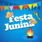 Festa Junina Brazylia tematu festiwal Folkloru wakacje Ja jest wektorowym ilustracją Obraz Royalty Free