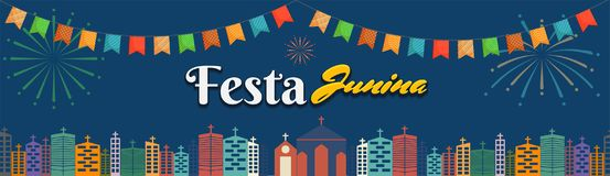 Festa Junina, Holiday Background. Festa Junina with bunting decoration and fire works on night background Stock Images