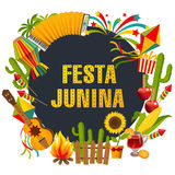 Festa junina cartoon background with decorative frame. Folklore Holiday. Characters. Festa junina cartoon background with decorative frame consisting of Stock Image