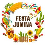 Festa junina cartoon background with decorative frame. Folklore Holiday. Characters. Stock Photos