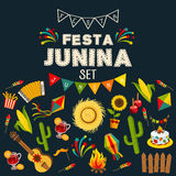 Festa junina cartoon background with decorative frame. Folklore Holiday. Festa junina background with decorative frame consisting of traditional celebration Stock Image