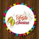 Festa junina cartoon. Festa junina concept invitation card with culture brazyl typical elements cartoon vector illustration graphic design royalty free illustration