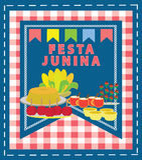 Festa Junina. Cartoon style background. Traditional Brazilian June Feast food Stock Photos
