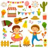 Festa Junina cartoons set. Set of cartoons for Festa Junina with dancing kids and related items Stock Photos
