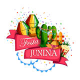 Festa Junina celebration background of Brazil and Portugal festival. Vector illustration of Festa Junina celebration background of Brazil and Portugal festival Stock Image