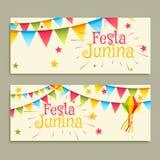 Festa junina celebration banners. Vector Stock Photo