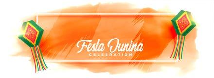 Festa junina celebration lamps watercolor banner. Vector vector illustration