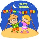 Festa Junina Celebration. People celebrating Festa Junina festival in vector Royalty Free Stock Photo