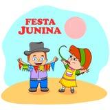 Festa Junina Celebration. People celebrating Festa Junina festival in vector Stock Photography