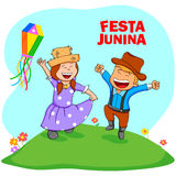 Festa Junina Celebration. People celebrating Festa Junina festival in vector Stock Image