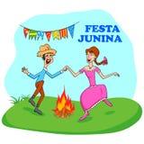 Festa Junina Celebration. People celebrating Festa Junina festival in vector Stock Images