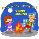 Festa Junina Celebration. People celebrating Festa Junina festival in vector Royalty Free Stock Photos
