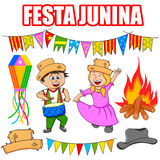Festa Junina Celebration. People celebrating Festa Junina festival in vector Royalty Free Stock Image