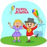 Festa Junina Celebration. People celebrating Festa Junina festival in vector Stock Photo