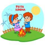 Festa Junina Celebration. People celebrating Festa Junina festival in vector Royalty Free Stock Images