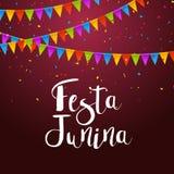 Festa Junina celebration poster. Brazilian festa decoration flye design template Royalty Free Stock Photography