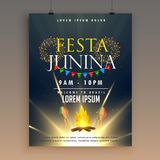 Festa junina celebration poster design template with fireworks Royalty Free Stock Photos