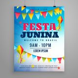 Festa junina celebration poster flyer design with garlands decor. Ation Royalty Free Stock Images