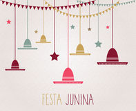 Festa Junina colorful poster. Handwritten text. Brazil june party. Vector illustration Stock Photo