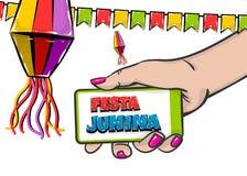 Festa Junina comic text hold smatrphone. Festa Junina - June festival village carnival Latin America. Comic text pop art. Vector halftone background illustration Stock Photos