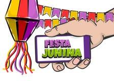 Festa Junina comic text hold smatrphone. Festa Junina - June festival village carnival Latin America. Comic text pop art. Vector halftone background illustration Royalty Free Stock Photo