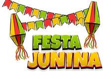 Festa Junina comic text pop art. Festa Junina traditional June festival Latin America. Brazil village carnival. Vector colored illustration background. Satin Royalty Free Stock Image