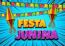Festa Junina comic text pop art. Festa Junina traditional June festival Latin America. Brazil village carnival. Vector colored illustration background. Satin Royalty Free Stock Photos