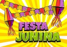 Festa Junina comic text pop art. Festa Junina traditional June festival Latin America. Brazil village carnival. Vector colored illustration background. Satin Stock Images
