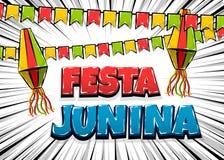 Festa Junina comic text pop art. Festa Junina traditional June festival Latin America. Brazil village carnival. Vector colored illustration background. Satin Royalty Free Stock Images