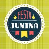 Festa Junina, crachá do fest de junho do brasileiro Fotografia de Stock
