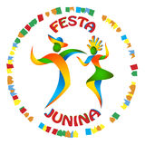 Festa Junina dancers man and woman. In color Brazilian flag. Traditional Brazil June festival party. Vector illustration Stock Photos