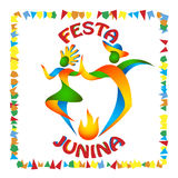 Festa Junina dancers man and woman. In color Brazilian flag. Traditional Brazil June festival party. Vector illustration Stock Image