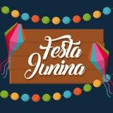 Festa junina design. Festa junina card with decorative objects over blue background. colorful design. vector illustration Stock Images