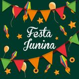 Festa Junina design. Colorful design of Festa junina with decorative pennants and balloons over green background, vector illustration Stock Photography