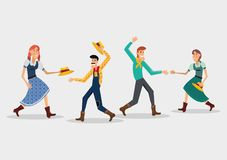 Festa Junina design. With cartoon couples dancing a traditional dance over white background vector illustration Stock Photo