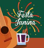 Festa Junina design. With guitar and drink icon over colorful background, vector illustration Stock Photos
