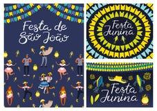 Festa Junina designs set royalty free illustration