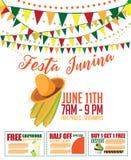 Festa Junina (det Juni partiet) marknadsföringsdesign Arkivfoto