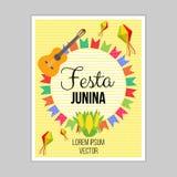 Festa Junina, festival brasileiro Decoração lisa do estilo Cartaz, cartão, bandeira Projeto do vetor ilustração royalty free