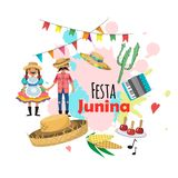 Festa Junina - festival de Brasil junho Feriado do folclore caráteres Grupo do vetor Imagens de Stock Royalty Free