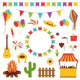 Festa Junina festival decorative elements. Carnival flags with lantern, firework and flying kite. Cactus, guitar and straw hat. Carnival banner for decoration Stock Photography