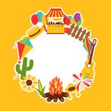 Festa Junina festival decorative elements. Carnival flags with lantern, firework and flying kite stock illustration